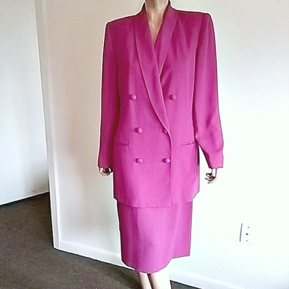 Josephine Chaus Dresses & Skirts - Fuchsia Double-Breasted Skirt Suit Sz 12